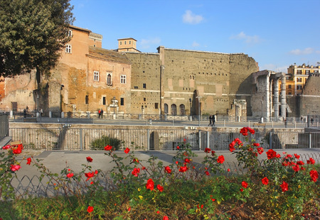 view of the ancient ruins on the Trajans Forum through the blooming roses in Rome, Italy Imagens