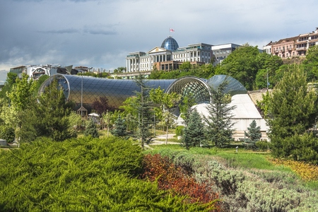 two sculptural volumes for a New Cultural Center (foreground) and the Presidential Palace (background) in Tbilisi, Georgia