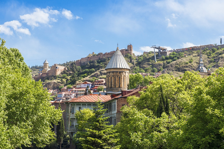 view of the old Tbilisi with Sioni Cathedral and medieval Narikala fortress, Tbilisi, Georgia