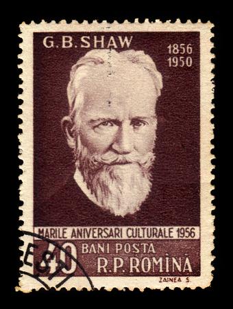 dramatist: ROMANIA - CIRCA 1956: A stamp printed in Romania shows George Bernard Shaw (1856-1950) irish writer and playwright, circa 1956 Editorial
