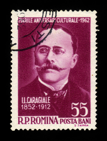 dramatist: ROMANIA - CIRCA 1962: A stamp printed in Romania shows Ion Luca Caragiale (1852-1012) writer and dramaturg, circa 1962