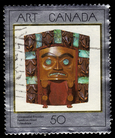 Canada - CIRCA 1989: A stamp printed in Canada shows ceremonial frontlet,  tsimshian, Canadian Museum of Civilization, circa 1989 Editorial