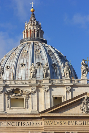 michelangelo: dome of the St. Peters Basilica, Vatican City, Rome, Italy Stock Photo