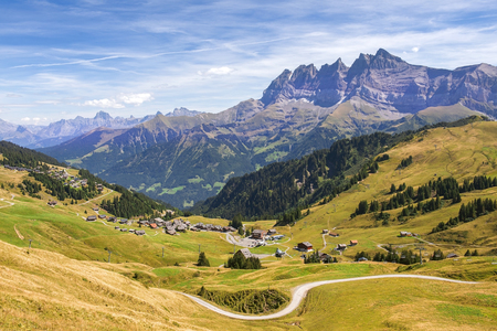 picturesque landscape with mountain views  in the Swiss Alps, Switzerland Stock Photo