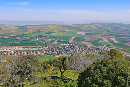 views of the Jezreel Valley from the heights of Mount Tabor, Lower Galilee, Israel