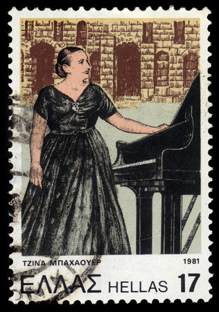 GREECE - CIRCA 1981: A stamp printed in Greece shows Gina Bachauer (1913-1976), greek classical pianist,  issued for her 5th death anniversary, circa 1981 Editorial