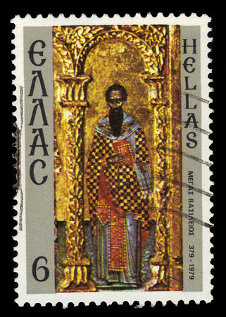 GREECE - CIRCA 1979: A stamp printed in Greece shows ancient greek icon Saint Basil of Caesarea, 1600 Years Death of Basil the Great, circa 1979