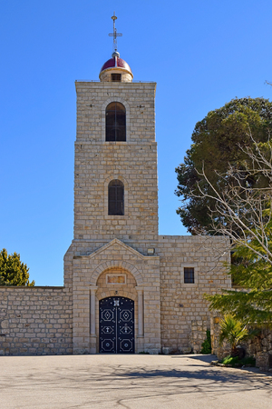 bell tower of the eastern orthodox monastery, Mount Tabor, Lower Galilee, Israel