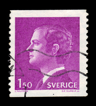 SWEDEN - CIRCA 1980: a stamp printed in the Sweden shows King Carl XVI Gustaf, King of Sweden, series, circa 1980 Editorial