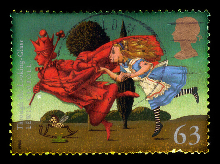 UNITED KINGDOM - CIRCA 1998: A stamp printed in Great Britain shows  illustrations for the book Through the Looking Glass and What Alice Found There (1871) by Lewis Carroll, circa 1998