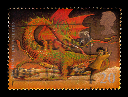 UNITED KINGDOM - CIRCA 1998: A stamp printed in Great Britain shows  illustrations for the book  the Hobbit or There and Back Again  by english author J. R. R. Tolkien, circa 1998 Editorial