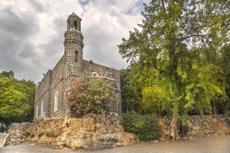 Church of the Primacy of Peter on Sea of Galilee, Tabgha, Upper Galilee, Israel Stock Photo