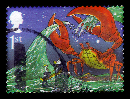 correspondencia: UNITED KINGDOM - CIRCA 2002: A stamp printed in Great Britain shows illustrations for the story The Crab that played with the Sea by Rudyard Kipling, series authors - Rudyard Kipling, circa 2002