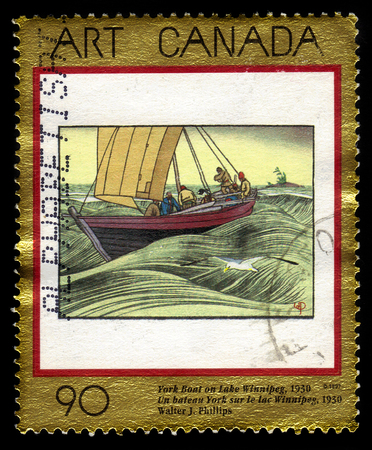 canada stamp: CANADA - CIRCA 1997: A stamp printed in Canada shows York Boat on Lake Winnipeg, 1930, painting by Walter J. Phillips, series canadian art, circa 1997 Editorial