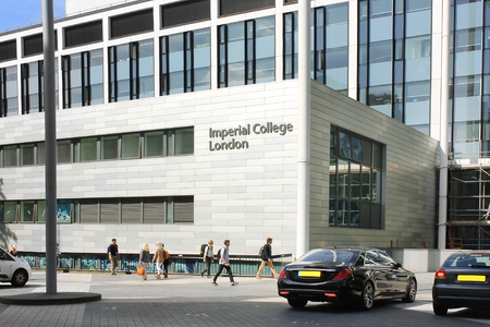 was: LONDON - MAY 24: Imperial College, Business School, South Kensington campus on May 24, 2017 in London, England. business school was opened in 2004 by Queen Elizabeth II