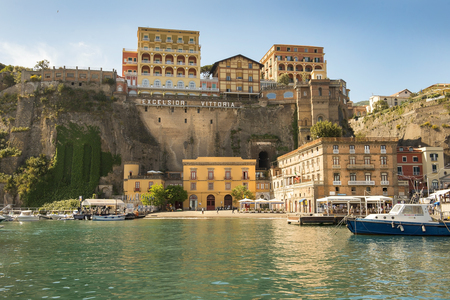 tyrrhenian: SORRENTO, ITALY - MAY 21, 2017: picturesque landscape in the port of Sorrento, Bay of Naples in Southern Italy Editorial