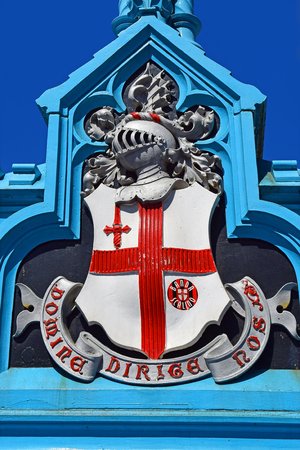 LONDON, ENGLAND - May 26,2017: Coat of Arms of the City of London on Tower Bridge, London, England