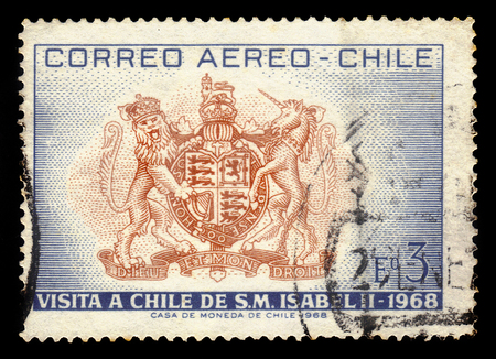 CHILE - CIRCA 1968: a stamp printed in the Chile shows british coat of arms, Dedicated to the Visit of Queen Elizabeth II, circa 1968 Editorial