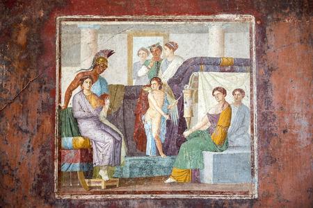 fresques à Pompéi, site du patrimoine mondial de l'UNESCO, région de Campanie, Italie. La ville de Pompéi a été détruite en 79BC par l'éruption du Vésuve