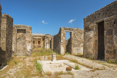 ancient Pompeii ruins, UNESCO World Heritage Site, Campania region, Italy. Pompeii city destroyed in 79BC by the eruption of Mount Vesuvius Banco de Imagens - 81122341