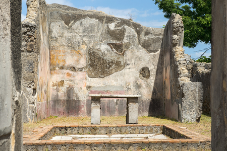 ancient Pompeii ruins, Campania region, Italy. Pompeii city destroyed in 79BC by the eruption of Mount Vesuvius