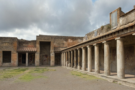 ancient Pompeii ruins, Campania region, Italy. Pompeii city destroyed in 79BC by the eruption of Mount Vesuvius