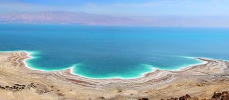 landscape of the Dead Sea, failures of the soil, illustrating an environmental catastrophe on the Dead Sea, Israel Archivio Fotografico