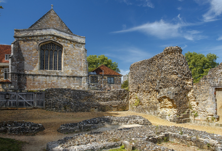 part of the ruins of Wolvesey Castle, the mediaeval Bishops Palace, Winchester, Hampshire, England Stock Photo