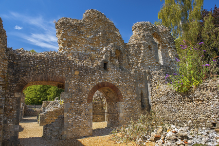 the abbot: part of the ruins of Wolvesey Castle, the mediaeval Bishops Palace, Winchester, Hampshire, England Stock Photo