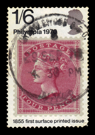UNITED KINGDOM - CIRCA 1970: A stamp printed in Great Britain shows image of the english postage stamp of 1855 of the issue with profile of Queen Victoria, first surface printed issue, series Philympia 70 - Stamp Exhibition, circa 1970 Editorial