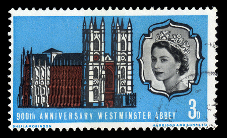 UNITED KINGDOM - CIRCA 1966: A stamp printed in Great Britain shows image of the Westminster Abbey and portrait of Queen Elizabeth II, 900th Anniversary of Westminster Abbey issue, circa 1966