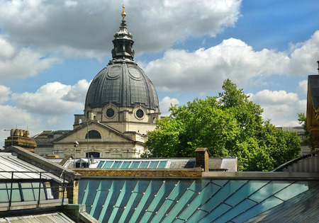 dome of the Church of the Immaculate Heart of Mary on Brompton Road, view from the window of the Victoria and Albert Museum, London