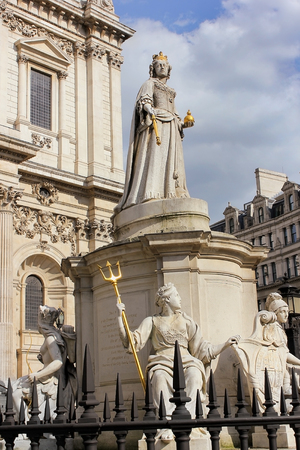 LONDON, ENGLAND - May 24,2017: the statue of Queen Anne, Queen of Great Britain by sculptor Richard Claude Belt  installed outside St Paul Cathedral in London, UK