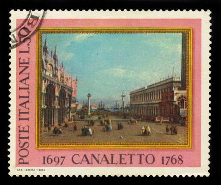 ITALIA - CIRCA 1968: A stamp printed in Italia shows The Piazzetta, Venice, painting by italian artist Antonio Canal, known as Canaletto, circa 1968 Editorial