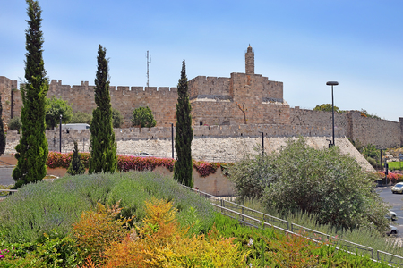 view of the fortress wall of Old Jerusalem near Jaffa Gate, old city of Jerusalem, Israel