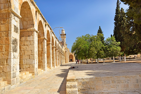JERUSALEM, ISRAEL - June 15, 2017: territory of the complex on the Temple Mount, the place of conflict between Israel and the Palestinian Authority, Old City of Jerusalem, Israel