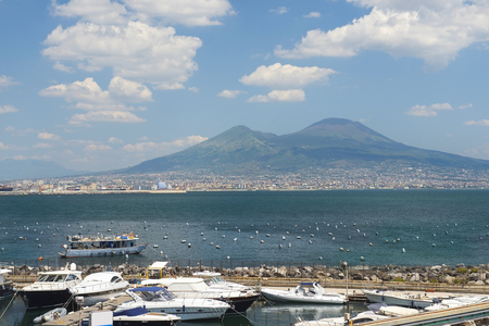 magnificent view of Mount Vesuvius and Gulf of Naples in good weather, Naples, Italy
