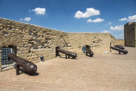 cannons on top of the castle Egg fortress ( Castel dellOvo ) in the port of Naples in southern Italy