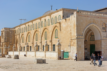 JERUSALEM, ISRAEL - June 15, 2017: Al-Aqsa Mosque, also known as Al-Aqsa and Bayt al-Muqaddas, is the third holiest site in Sunni Islam and is located in the Old City of Jerusalem, Israel Editorial