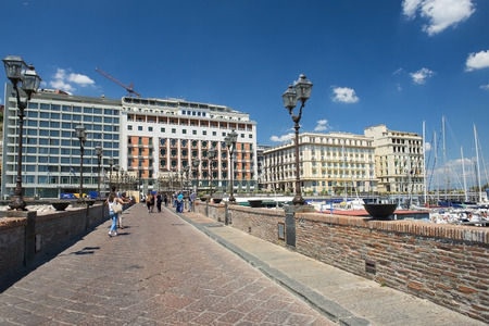 Naples, Italy - may 18, 2017: promenade of Naples in good weather, Naples, Italy