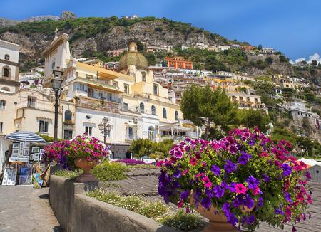 Positano, Italy - may 24, 2017: scenic view of Positano, cliffside village at the Amalfi Coast, Campania region in southern Italy