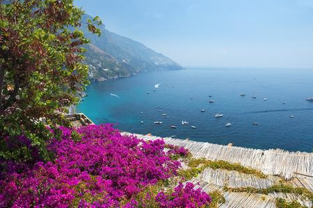 scenic view of Positano, Amalfi Coast, Campania region in Italy Stock Photo