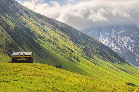 picturesque mountain landscape, Caucasus mountain range, Juta valley, Kazbegi region, Georgia