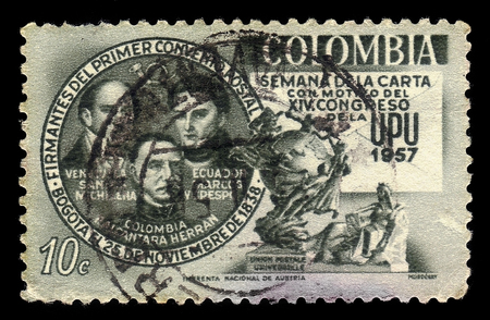 Colombia - circa 1957: A stamp printed in Colombia shows Santos Michelena, Francisco De Marcos Y Crespo, Pedro Alcantara Herran, political leaders of Latin America and UPU Monument in Bern, circa 1957