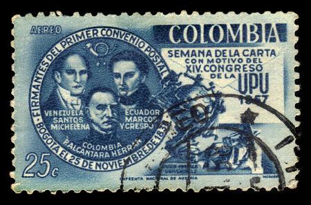 upu: Colombia - circa 1957: A stamp printed in Colombia shows Santos Michelena, Francisco De Marcos Y Crespo, Pedro Alcantara Herran, political leaders of Latin America and UPU Monument in Bern, circa 1957