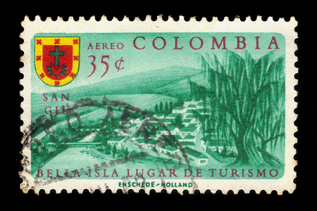 Colombia - circa 1961: A stamp printed in Colombia shows San Gil, small andean city in northern Colombia, circa 1961 Editorial