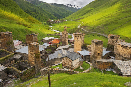 Ushguli - the highest inhabited village in Europe, Enguri gorge in Upper Svaneti, Georgia - UNESCO World Heritage Site Фото со стока