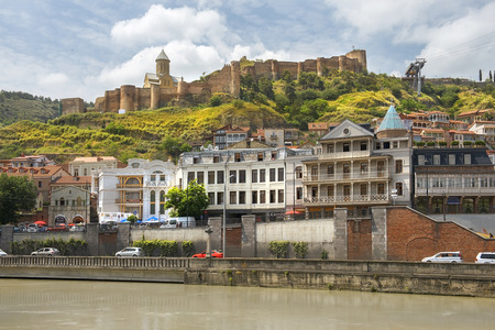 Tbilisi, Georgia - Juny 6, 2017: view of the Narikala, ancient fortress and old city in Tbilisi, capital of Georgia on Juny 6, 2017