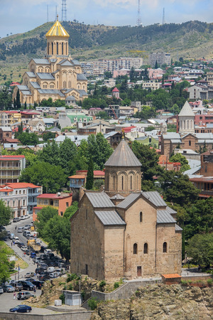 city landscape with famous landmarks of old Tbilisi, the capital of the Republic of Georgia