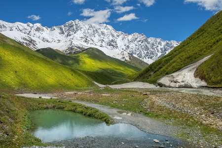 magnificent view of the Caucasus Mountains in Upper Svaneti, Georgia